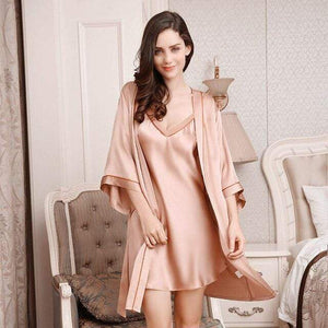Her Shop pajama Rubber Red / XL 100% Silk Comfortable Sleeping Two-Piece Robe Sets