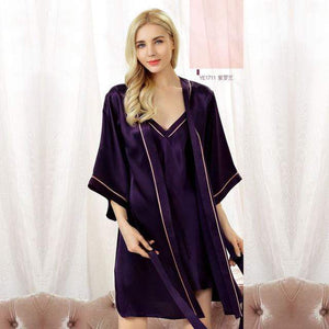 Her Shop pajama Lavender / XL 100% Silk Comfortable Sleeping Two-Piece Robe Sets