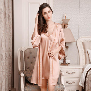 Her Shop pajama 100% Silk Comfortable Sleeping Two-Piece Robe Sets