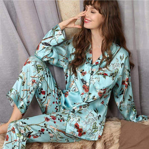 Her Shop pajama 100% Silk Female Fashion Printed Long-Sleeve Two-Piece Pajama Sets