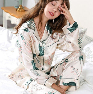 Her Shop pajama beige yellow / M 100% Silk Female Fashion Printed Long-Sleeve Two-Piece Pajama Sets