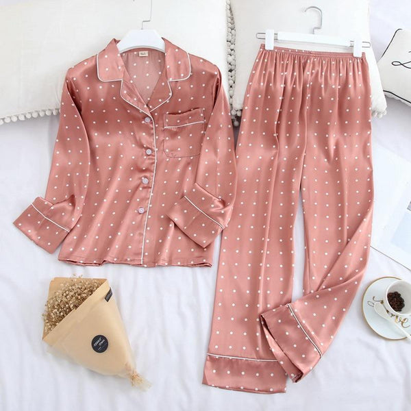 Her Shop pajama Long Sleeve Pajamas Autumn Ice Silk Long Sleeve Trousers Suit Printing Fashion Pyjamas Set