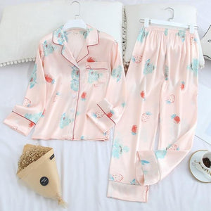 Her Shop pajama light pink / XL Long Sleeve Pajamas Autumn Ice Silk Long Sleeve Trousers Suit Printing Fashion Pyjamas Set
