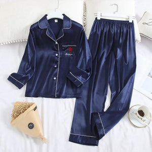 Her Shop pajama Blue / XL Long Sleeve Pajamas Autumn Ice Silk Long Sleeve Trousers Suit Printing Fashion Pyjamas Set