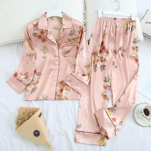 Her Shop pajama Pink plants / XL Long Sleeve Pajamas Autumn Ice Silk Long Sleeve Trousers Suit Printing Fashion Pyjamas Set