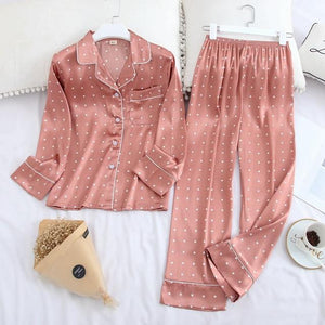 Her Shop pajama pink dot / XXL Long Sleeve Pajamas Autumn Ice Silk Long Sleeve Trousers Suit Printing Fashion Pyjamas Set