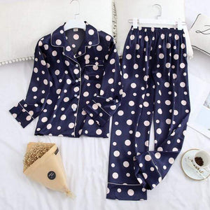 Her Shop pajama blue dot / XL Long Sleeve Pajamas Autumn Ice Silk Long Sleeve Trousers Suit Printing Fashion Pyjamas Set