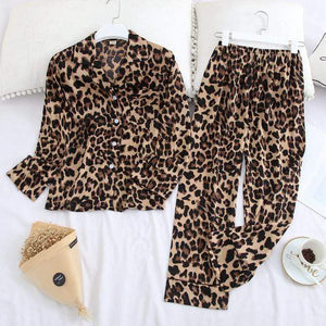 Her Shop pajama leopar / XXL Long Sleeve Pajamas Autumn Ice Silk Long Sleeve Trousers Suit Printing Fashion Pyjamas Set