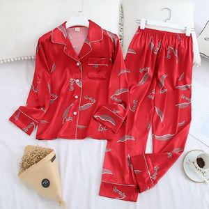 Her Shop pajama Red feather / XL Long Sleeve Pajamas Autumn Ice Silk Long Sleeve Trousers Suit Printing Fashion Pyjamas Set