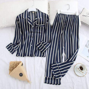 Her Shop pajama blue stripe / XXL Long Sleeve Pajamas Autumn Ice Silk Long Sleeve Trousers Suit Printing Fashion Pyjamas Set