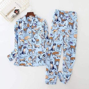 Her Shop pajama Blue dog pajamas / S Print Brushed Cotton Long Sleeve Pajama
