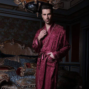 Her Shop pajama Men Style / M Pure Silk Robe Couple Long-Sleeve 100% Silk Robe Sleepwear