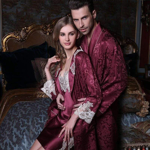 Her Shop pajama Pure Silk Robe Couple Long-Sleeve 100% Silk Robe Sleepwear