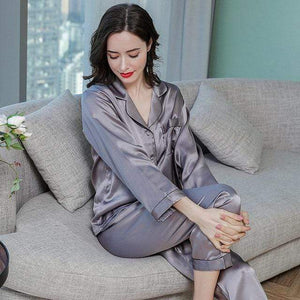 Her Shop pajama Gray / XXL Real Silk Pajama Sets