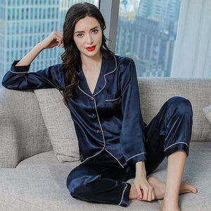 Her Shop pajama Navy Blue / XXL Real Silk Pajama Sets