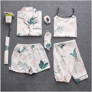 Her Shop pajamas Leaves / M Sleepwear 7 Pieces Pyjama Set Women Autumn Winter Sexy Pajamas Sets Sleep Suits Soft Sweet Cute Nightwear Gift Home Clothes