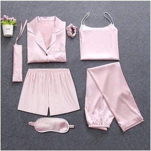 Her Shop pajamas Pink / M Sleepwear 7 Pieces Pyjama Set Women Autumn Winter Sexy Pajamas Sets Sleep Suits Soft Sweet Cute Nightwear Gift Home Clothes