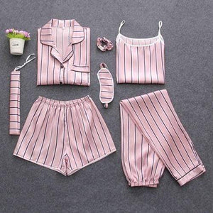 Her Shop pajamas Pink stripes / M Sleepwear 7 Pieces Pyjama Set Women Autumn Winter Sexy Pajamas Sets Sleep Suits Soft Sweet Cute Nightwear Gift Home Clothes