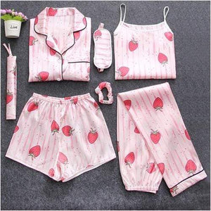 Her Shop pajamas Strawberry / M Sleepwear 7 Pieces Pyjama Set Women Autumn Winter Sexy Pajamas Sets Sleep Suits Soft Sweet Cute Nightwear Gift Home Clothes