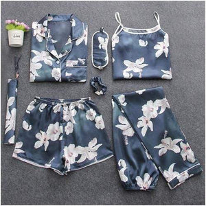 Her Shop pajamas Lily flower / M Sleepwear 7 Pieces Pyjama Set Women Autumn Winter Sexy Pajamas Sets Sleep Suits Soft Sweet Cute Nightwear Gift Home Clothes