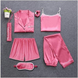Her Shop pajamas Rose red / M Sleepwear 7 Pieces Pyjama Set Women Autumn Winter Sexy Pajamas Sets Sleep Suits Soft Sweet Cute Nightwear Gift Home Clothes