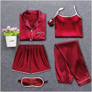 Her Shop pajamas Wine red / M Sleepwear 7 Pieces Pyjama Set Women Autumn Winter Sexy Pajamas Sets Sleep Suits Soft Sweet Cute Nightwear Gift Home Clothes