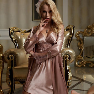 Her Shop pajamas Woman Faux Silk Sexy Two-Piece Sets Lace Embroidery Bathrobes Nightdress