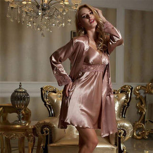 Her Shop pajamas Gold Coffee / S Woman Faux Silk Sexy Two-Piece Sets Lace Embroidery Bathrobes Nightdress