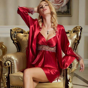 Her Shop pajamas Saffron / S Woman Faux Silk Sexy Two-Piece Sets Lace Embroidery Bathrobes Nightdress