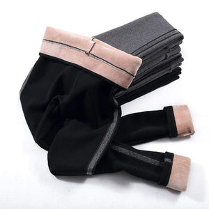Her Shop Pants and Leggings Autumn Winter Cotton Velvet Leggings Women High Waist Side Stripes Sporting Fitness Leggings Pants Warm Thick Leggings