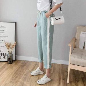Her Shop Pants and Leggings green / L Cotton Linen Ankle Length Striped Pants