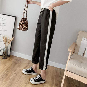Her Shop Pants and Leggings Black / L Cotton Linen Ankle Length Striped Pants