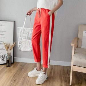 Her Shop Pants and Leggings Red / L Cotton Linen Ankle Length Striped Pants