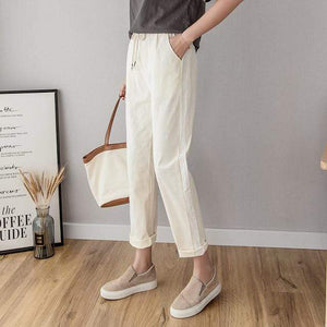 Her Shop Pants and Leggings off-white / L Cotton Linen Ankle Length Striped Pants