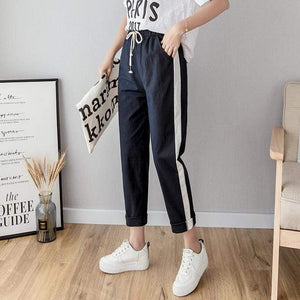 Her Shop Pants and Leggings Navy / L Cotton Linen Ankle Length Striped Pants