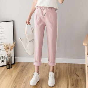 Her Shop Pants and Leggings pink / L Cotton Linen Ankle Length Striped Pants