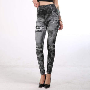 Her Shop Pants and Leggings Gray / S Imitation Denim Printed Slim Jeggings