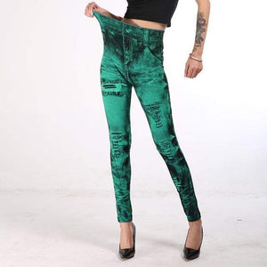 Her Shop Pants and Leggings GREEN / S Imitation Denim Printed Slim Jeggings