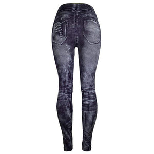 Her Shop Pants and Leggings Imitation Denim Printed Slim Jeggings