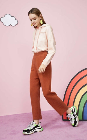 Her Shop Pants and Leggings Street wear Straight Fit Crop Casual Pants