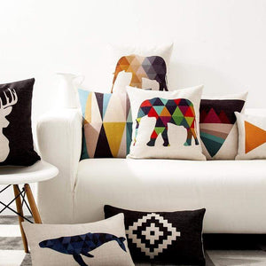 Her Shop pillow case Europe Elephant Deer Geometric Pillow Cushion Cover