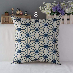 Her Shop pillow case 450mm*450mm / a8 High Quality Linen Cotton Deep Blue Geometry Throw Pillow Case