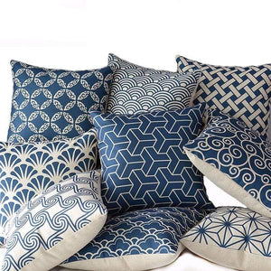 Her Shop pillow case High Quality Linen Cotton Deep Blue Geometry Throw Pillow Case
