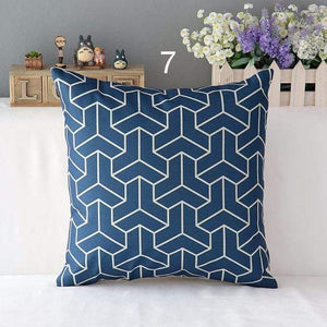 Her Shop pillow case 450mm*450mm / a7 High Quality Linen Cotton Deep Blue Geometry Throw Pillow Case