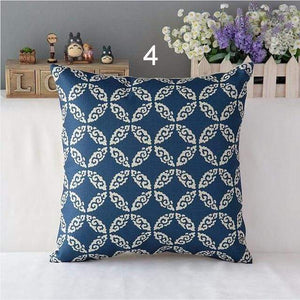 Her Shop pillow case 450mm*450mm / a4 High Quality Linen Cotton Deep Blue Geometry Throw Pillow Case