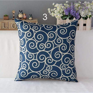 Her Shop pillow case 450mm*450mm / a3 High Quality Linen Cotton Deep Blue Geometry Throw Pillow Case