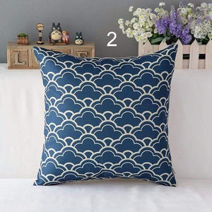 Her Shop pillow case 450mm*450mm / a2 High Quality Linen Cotton Deep Blue Geometry Throw Pillow Case