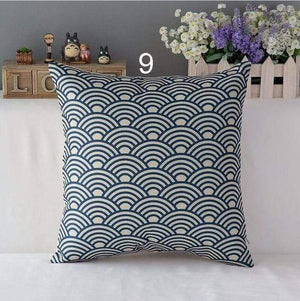 Her Shop pillow case 450mm*450mm / a9 High Quality Linen Cotton Deep Blue Geometry Throw Pillow Case