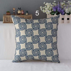 Her Shop pillow case 450mm*450mm / a5 High Quality Linen Cotton Deep Blue Geometry Throw Pillow Case