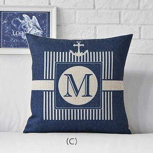 Her Shop pillow case 45x45cm / M311503 Sea Blue Compass Printed Anchor Pattern Marine Ship Throw Pillow Case